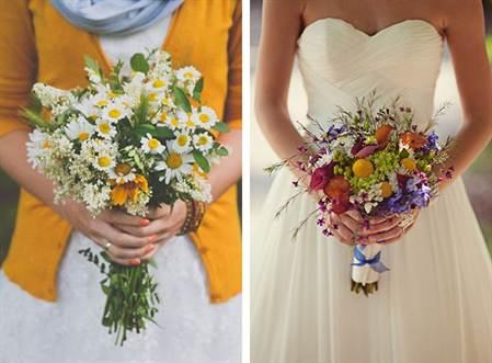 модные свадебные букеты 2016, микс из разных цветов 3