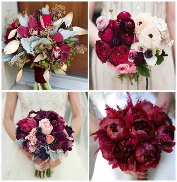 цвет марсала в дизайне свадебного букета 1