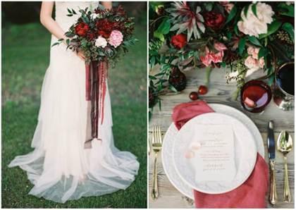 цвет марсала в дизайне свадебного букета 2