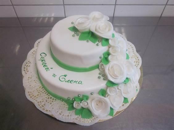 двухъярусные свадебные торты, фото 2016 1