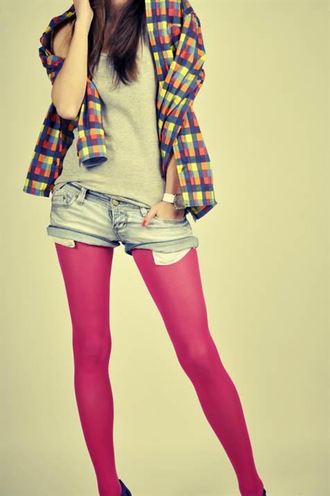 лук с джинсовыми шортами