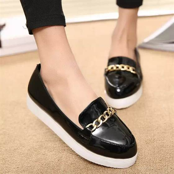 2015-new-style-ladies-casual-flat-heel-chain-slip-on-female-black-red-white-loafer-shoes
