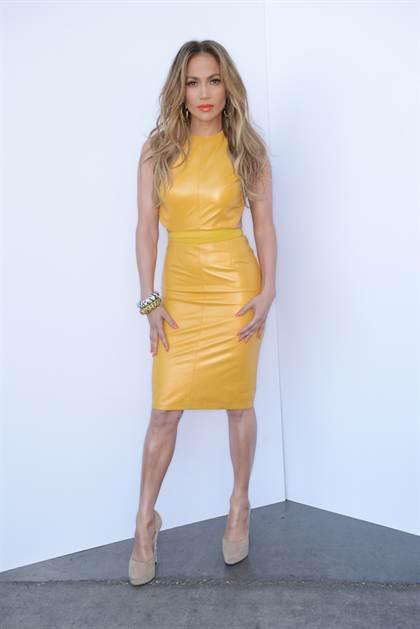 jennifer-lopez-american-idol-phillip-armstrong-yellow-leather-dress-jimmy-choo-shoes-jacon-leopard-bracelets