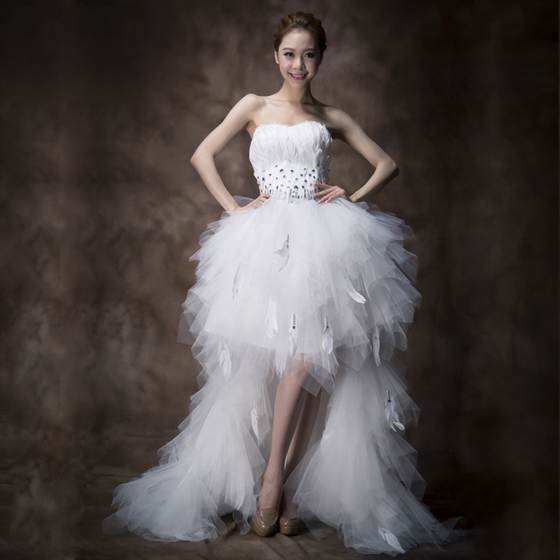 7_free-shipping-low-high-2013-feather-wedding-dress-sweet-tube-top-type-princess-formal-dress-short