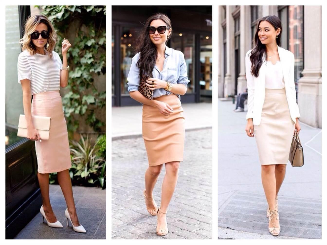 бежевая юбка карандаш: с чем носить
