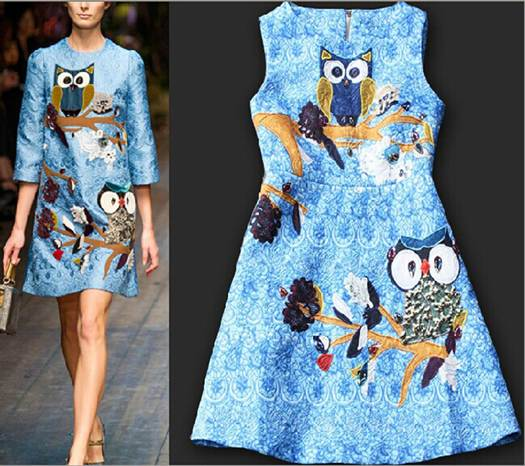 2014-autumn-winter-high-quality-eagle-print-slim-party-dress-cat-walk-print-dress-free-shipping