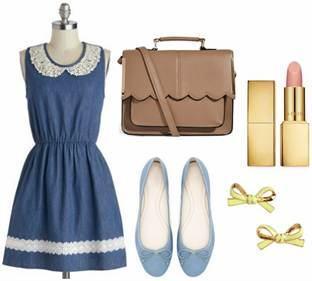 denim-fit-and-flare-dress-ballet-flats-scalloped-purse