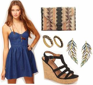 denim-polka-dot-dress-wedges-printed-clutch