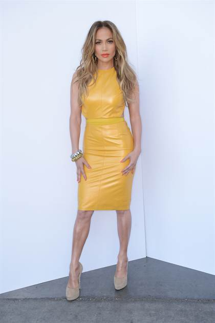 jennifer-lopez-american-idol-phillip-armstrong-yellow-leather-dress-jimmy-choo-shoes-jacon-leopard-bracelets