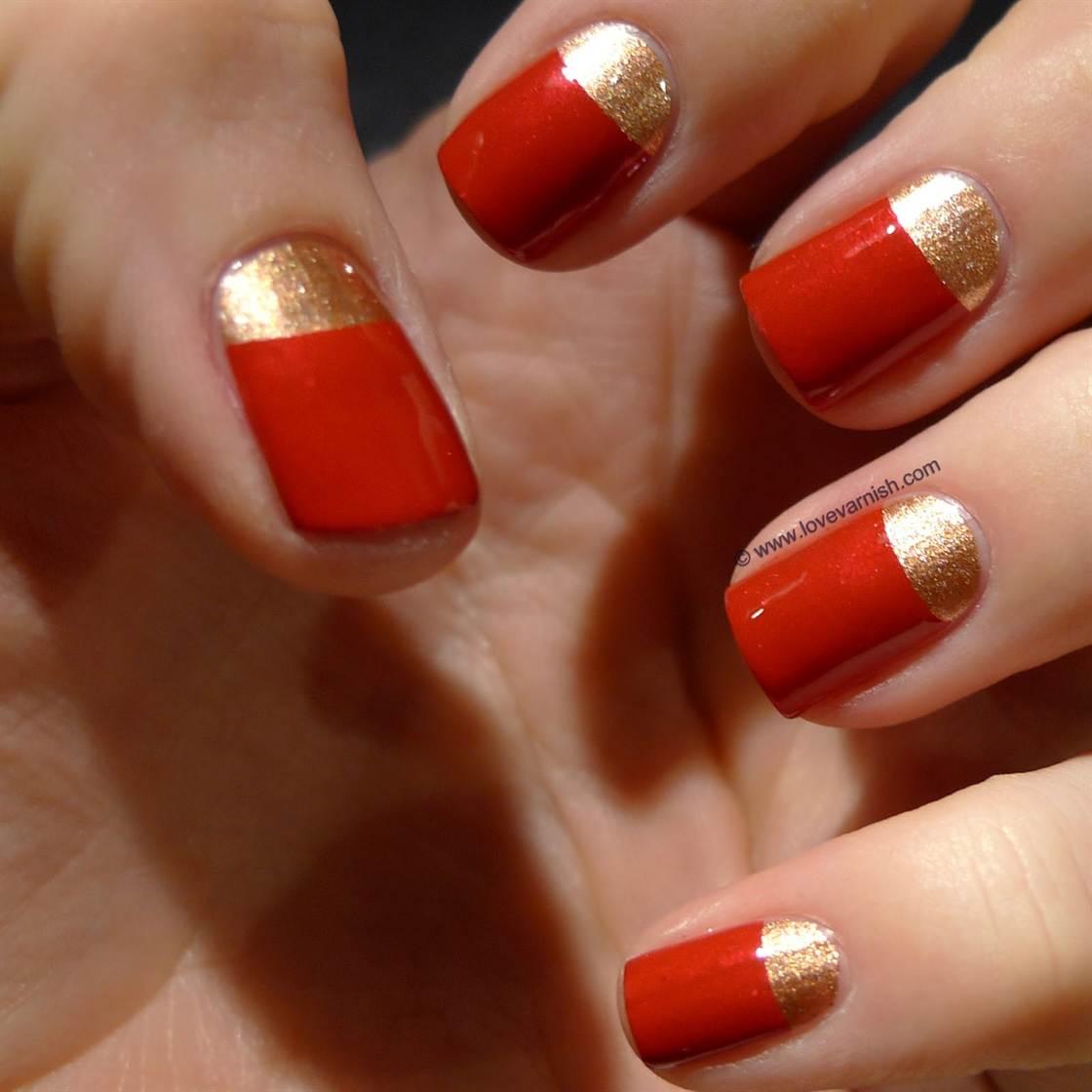 Фото ногтей красно золотых